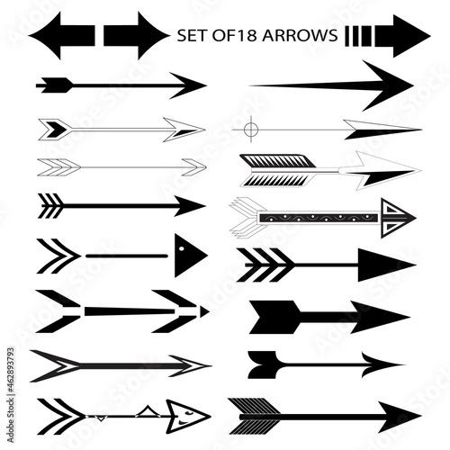 Set of eighteen black arrow icons Fotobehang