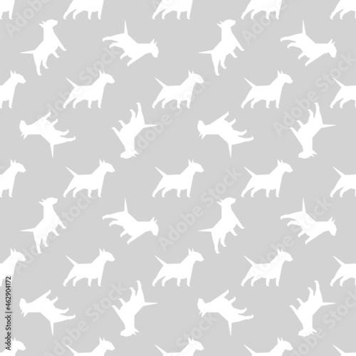 Billede på lærred Vector seamless pattern with bull terrier