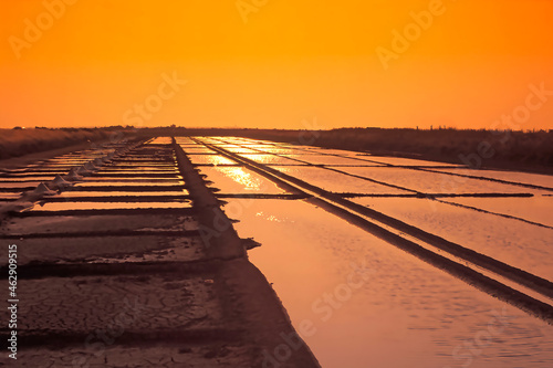 Fotografie, Obraz Salines marais salants sel de l'île de Ré au coucher de soleil