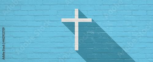 Foto レンガ壁に書かれた十字架のイラスト