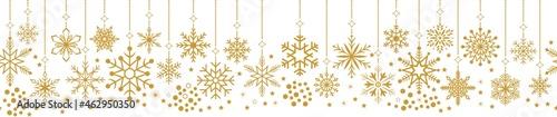 Photo Nahtloses Weihnachtsornament vektor in Gold mit Schneeflocken