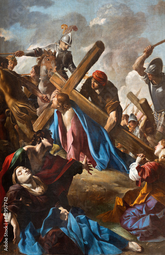 Tela ROME, ITALY - AUGUST 29, 2021: The painting Ascent of Christ to the mount of calvary in the chruch Basilica di San Giovanni Battista dei Fiorentini by Gioivanni Lancranco (1621-1624)