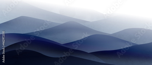 Canvas Print Background with art image of mountains and hills in the fog in calm cool colors