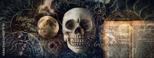 地質学、考古学、天文学、博物学等、科学のイメージ。もしくは占星術、運命、黒魔術のイメージ