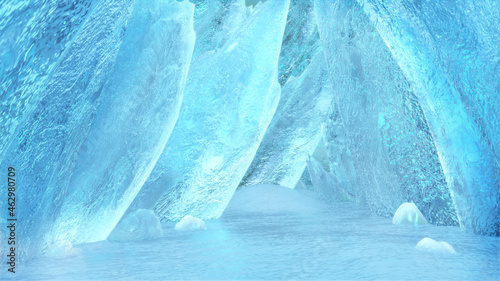 Fotografie, Obraz Fantasy ice cave,Abstract crystal landscape,3d rendering.
