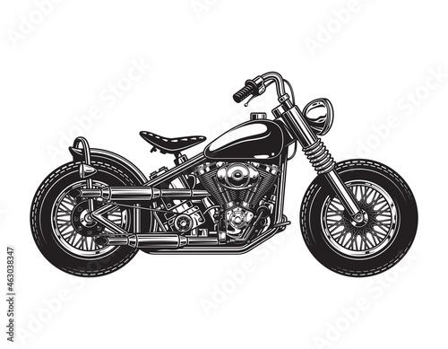 Vintage chopper motorcycle side view template Fotobehang