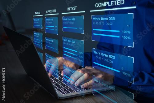 Fotografie, Obraz Agile software development with developer using Kanban board framework methodology on computer