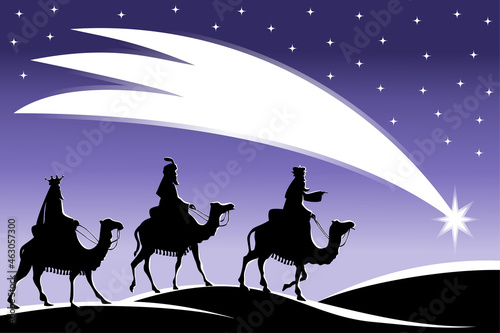Vászonkép Silhouette of three Kings travelling on camel back from the East following the S
