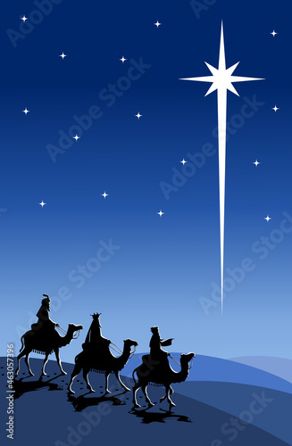Fényképezés Silhouette of three Kings traveling on camel back from the East following the St
