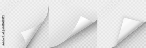 Obraz na plátně Realistic curled paper corners set