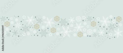 Foto White snowflakes border, winter design for banner header package or backdrop decor