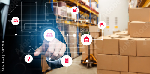 Smart warehouse management system with innovative internet of things technology to identify package picking and delivery . Future concept of supply chain and logistic network business .