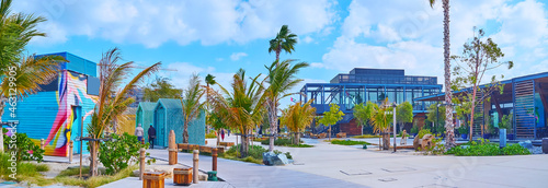 Panorama of the shopping area of La Mer public beach, Dubai, UAE Fototapet