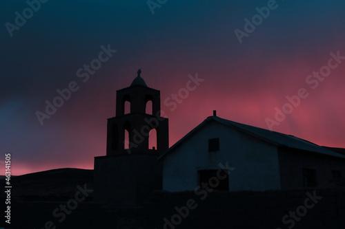 Fotografering Silueta de Iglesia Colonial atardecer, (Puesta de sol)