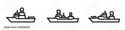 Murais de parede frigate warship line icon set. military ship symbols