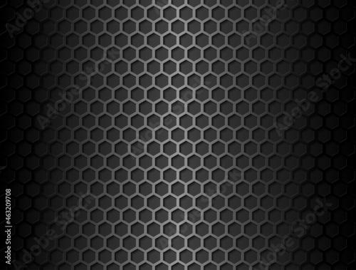 Fotografiet Vector metal hex grid seamless pattern on black background