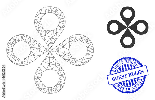 Photo Web net quadrocopter vector icon, and blue round GUEST RULES grunge stamp