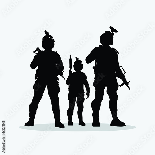 Military vector illustration, Army background, soldiers silhouettes Fotobehang