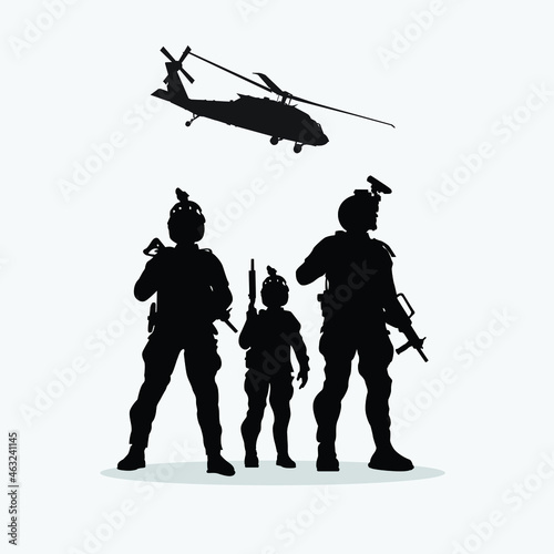 Obraz na plátně Military vector illustration, Army background, soldiers silhouettes