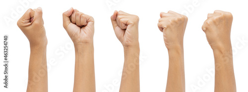 Canvas Print Set woman's hands with fist gesture isolated white background doing protest and