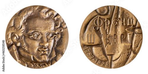 Fotografering Large tabletop jubilee medal of the famous Austrian composer Franz Peter Schubert