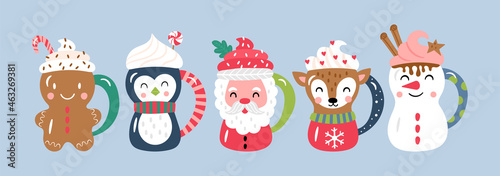 Photographie Christmas holiday cute cocoa chocolate cup set