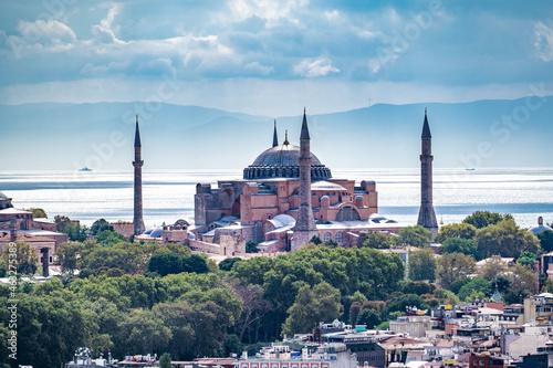 Fotografiet ISTANBUL, TURKEY - OCTOBER 12 ,2021: Istanbul city view on Hagia Sophia in Turkey