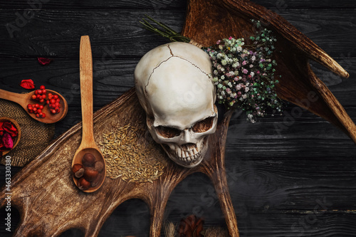 Obraz na plátně Ingredients for witch's ritual on wooden table