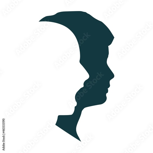 Fotografie, Obraz Human face side view silhouette and alter ego