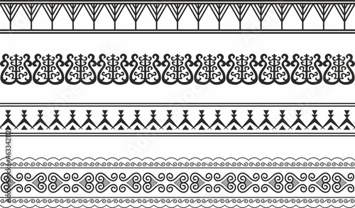 Canvas Vector set of seamless Yakut national ornaments