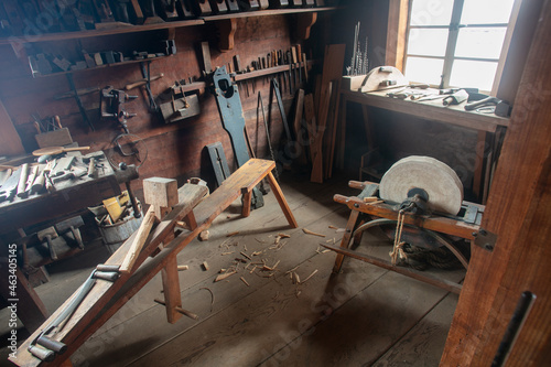 Fotografie, Obraz A Vintage Tool and Craft Room at Fort Ross State Park Russian Settlement