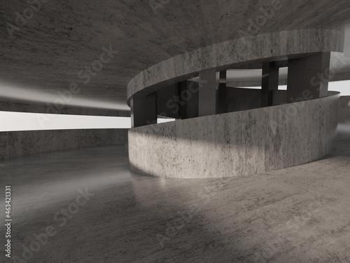 Empty spiral ramp interior Fototapeta