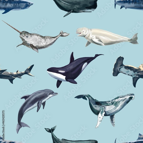 Watercolor whales seamless pattern Fototapet