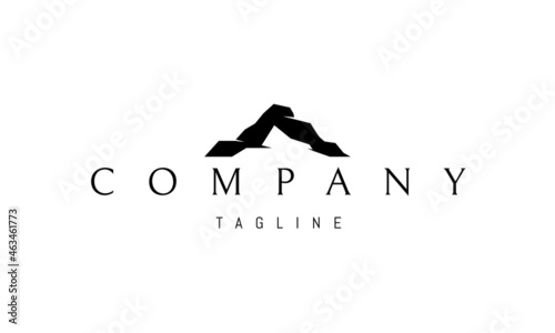 Fotografiet Vector logo on which the abstract image of the silhouette of the mountain in the form of the letter A