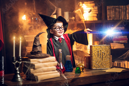 Fotografie, Tablou Small wizard in glasses, wizard's hat holds magic wand