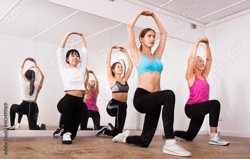 Women dancing aerobics at lesson in the dance class Fototapeta