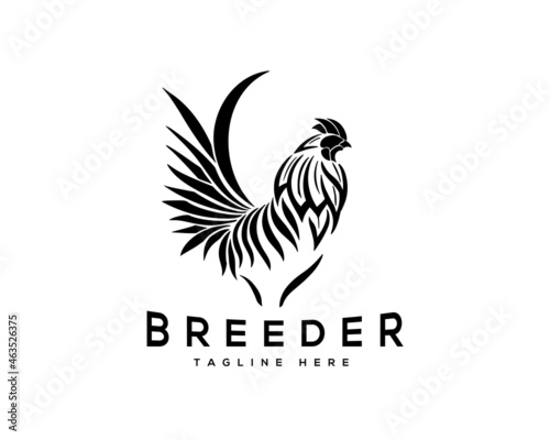 Photo abstract line rooster breeder stand drawn logo template illustration