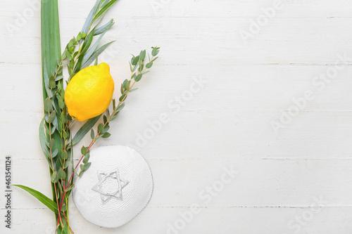 Fotografia, Obraz Sukkot festival symbols on white wooden background