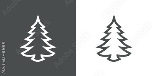 Logotipo contorno exterior de árbol de navidad abstracto con ramas en forma de t Fotobehang