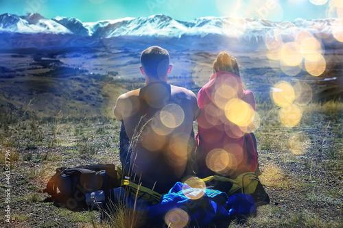 Obraz na plátně couple autumn altai lovers mountains, active adventures, travel happy tourism