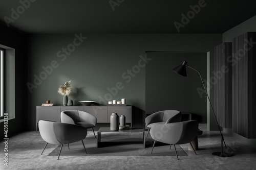 Dark green and grey seating area in modern living room