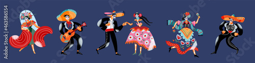 Fotografia Day of dead, mexican carnival holiday, music dance party, dancers with death tat