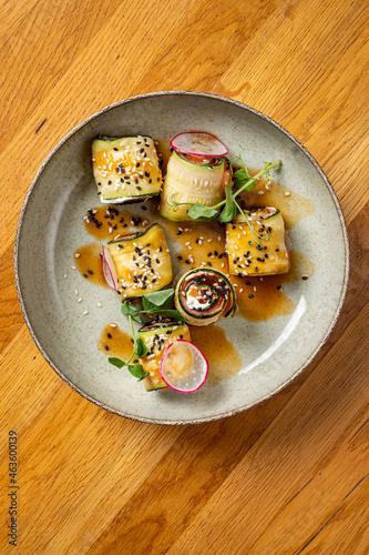 stuffed eggplant rolls with vegetables