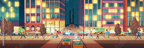 Tela Modern city street at evening cartoon vector