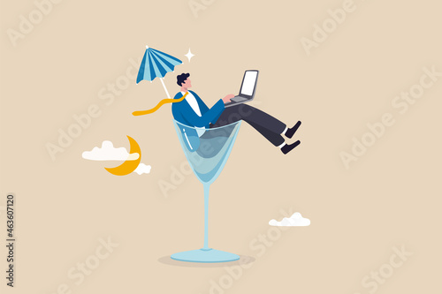 Fotografia, Obraz Work anywhere anytime, hybrid work or flexible hour for employee choice to choose where and when to work concept, businessman relax working remotely with computer laptop in cocktail glass at night