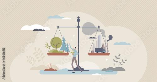 Tableau sur Toile Net zero emissions and carbon dioxide CO2 neutral balance tiny person concept
