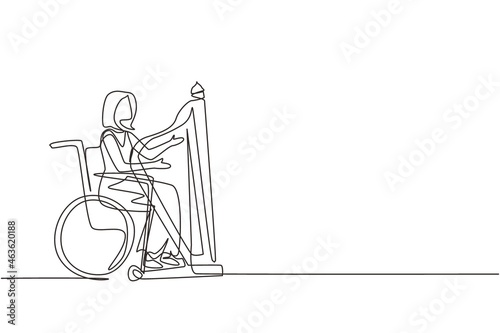 Foto Single one line drawing elegant woman sitting in wheelchair plays harp in concert