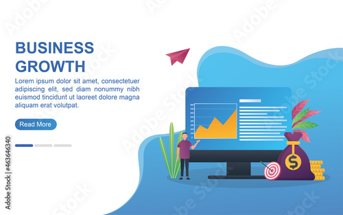 Fotografia Illustration concept of business growth with with ascending diagram
