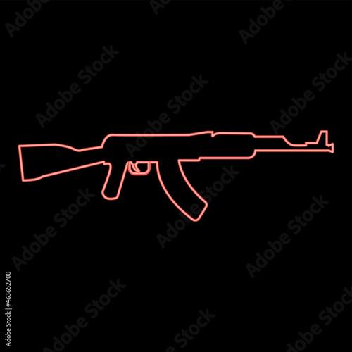 Fotografie, Obraz Neon assault rifle red color vector illustration flat style image