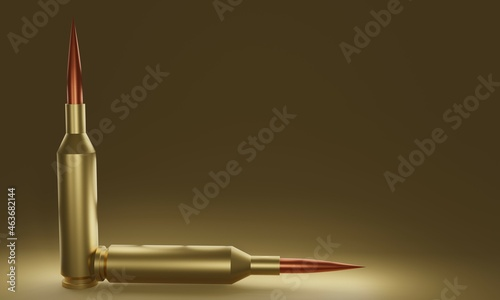 Canvastavla illustration of Bullets isolated on golden background, 3D Rendering